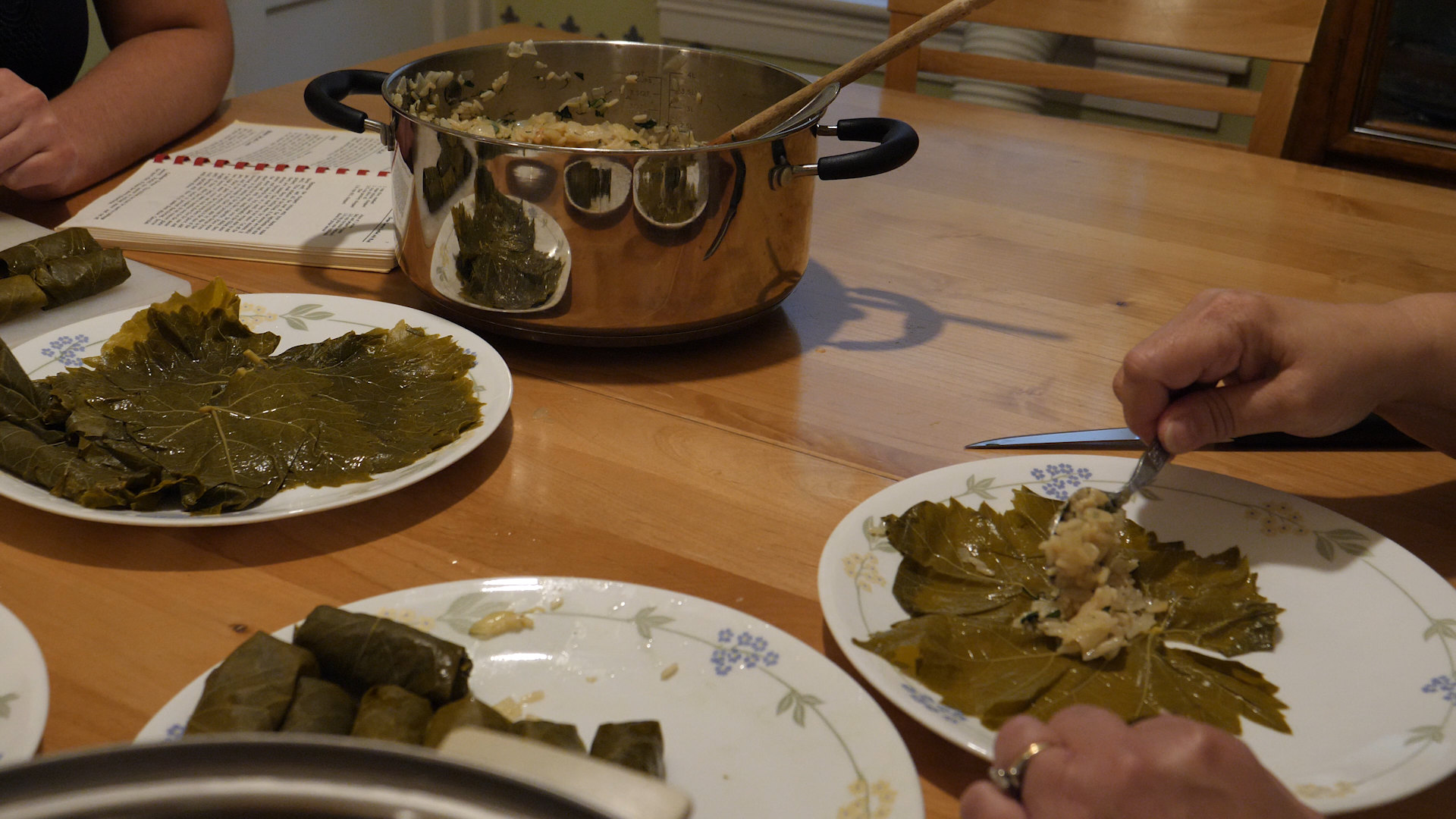 Grape leaves on a table