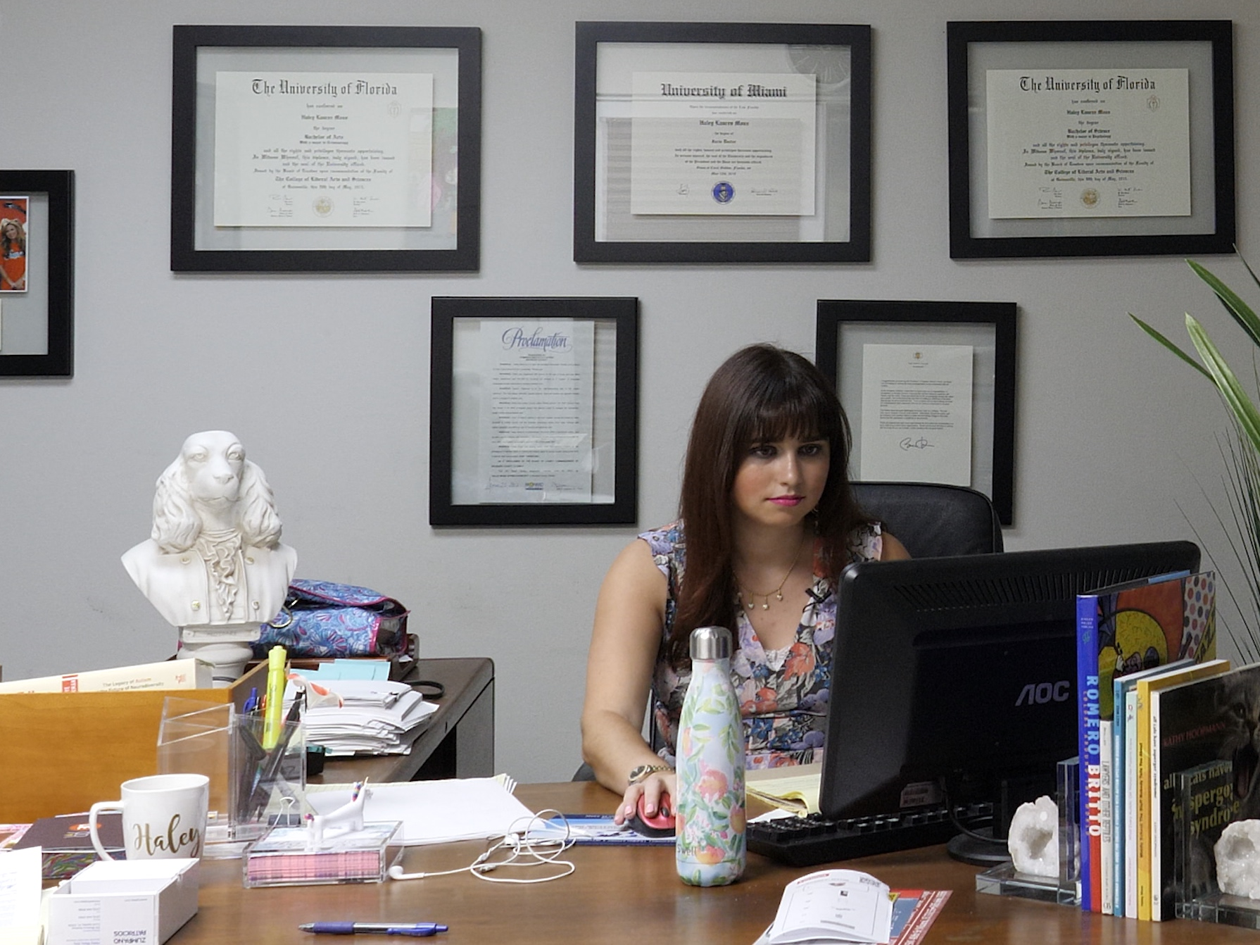 The main character, Haley, sits at her desk, surrounded by diplomas and piles of paperwork